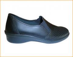 Рабочие туфли женские кожаные 02-12 (Черные)