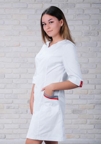 Женский медицинский халат 103 (Красно-серый) #2