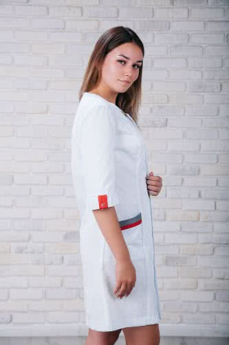 Женский медицинский халат 103 (Красно-серый) #5