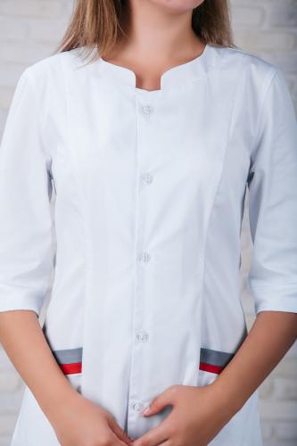 Женский медицинский халат 103 (Красно-серый) #4