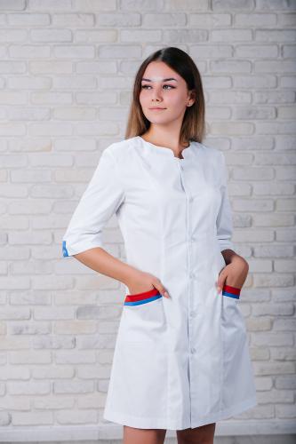 Женский медицинский халат 103 (Красно-синий) #6