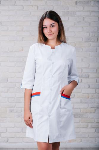 Женский медицинский халат 103 (Красно-синий) #4