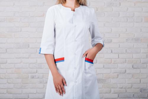 Женский медицинский халат 103 (Красно-синий) #7