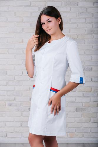 Женский медицинский халат 103 (Красно-синий) #3