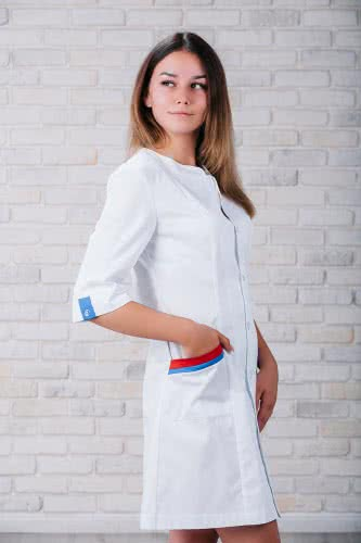 Женский медицинский халат 103 (Красно-синий) #1
