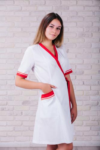 Женский медицинский халат 101 (Красный) #4