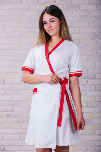 Женский медицинский халат 101 (Красный) #5