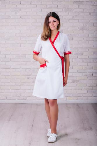 Женский медицинский халат 101 (Красный) #7