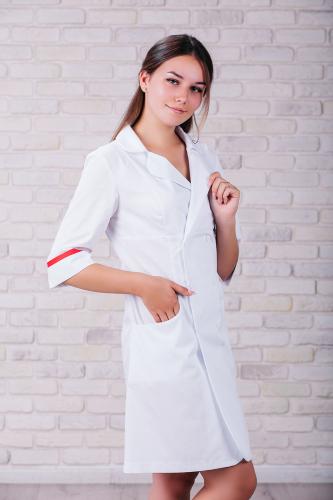 Женский медицинский халат 105 (Красный) #1