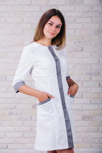 Женский медицинский халат 104 (Серый) #1