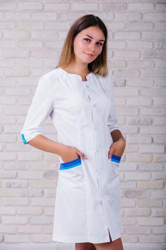 Женский медицинский халат 103 (Сине-голубой) #3